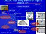 dreissena as an example for habitat engineer depth 2 5 m