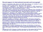 recent papers in international journals and monograph