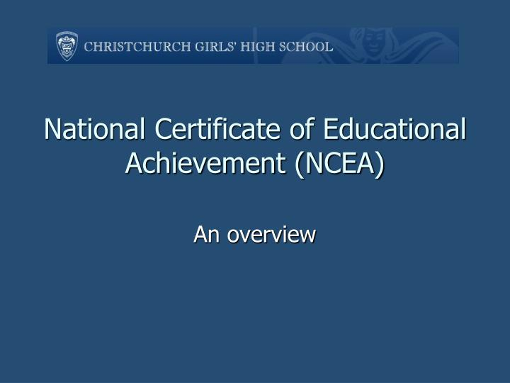 national certificate of educational achievement ncea n.