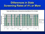 differences in state screening rates of 4 or more