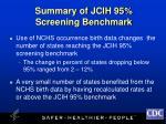 summary of jcih 95 screening benchmark