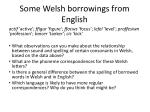 some welsh borrowings from english
