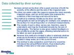 data collected by diver surveys