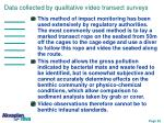 data collected by qualitative video transect surveys