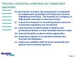 voluntary monitoring undertaken by independent specialists
