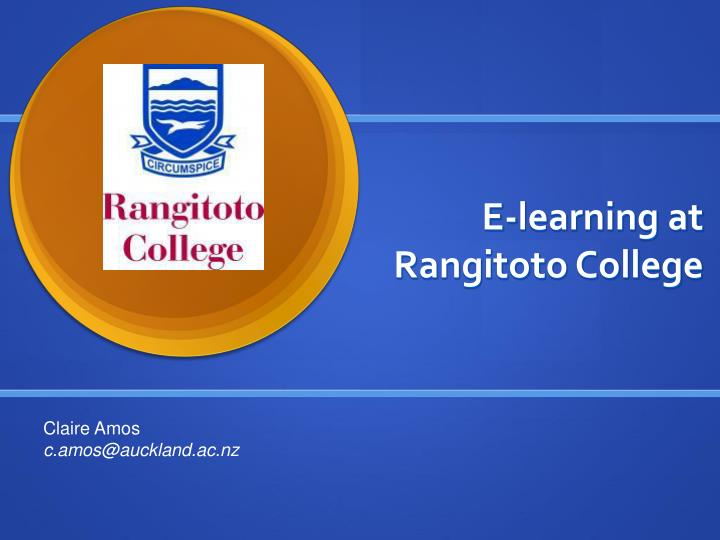 e learning at rangitoto college