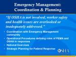 emergency management coordination planning