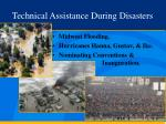 technical assistance during disasters
