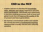 esd in the ncf