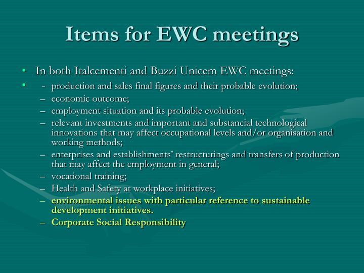 Items for EWC meetings