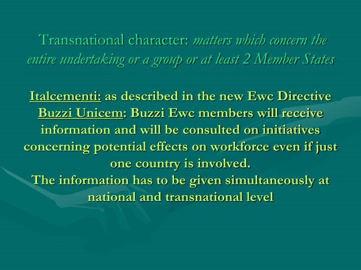 Transnational character:
