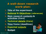 a well down research work plan