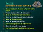 part 2 scientific paper writing