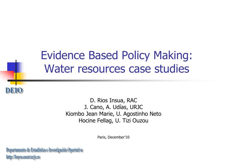 evidence based policy making water resources case studies n.