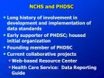 nchs and phdsc