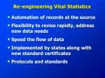 re engineering vital statistics