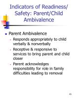 indicators of readiness safety parent child ambivalence