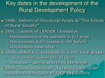 key dates in the development of the rural development policy
