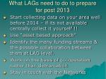 what lags need to do to prepare for post 20131