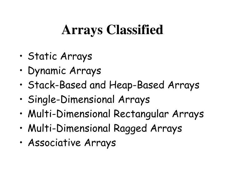 Arrays Classified