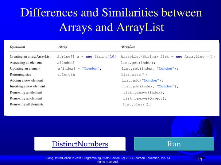 Differences and Similarities between Arrays and ArrayList