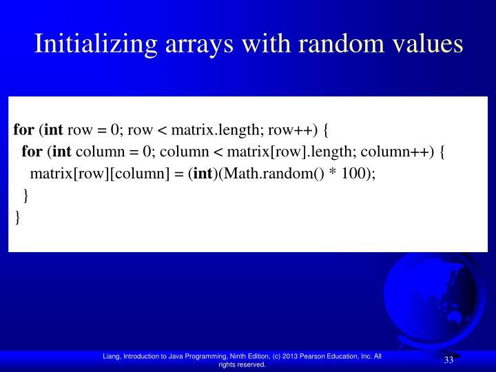 Initializing arrays with random values