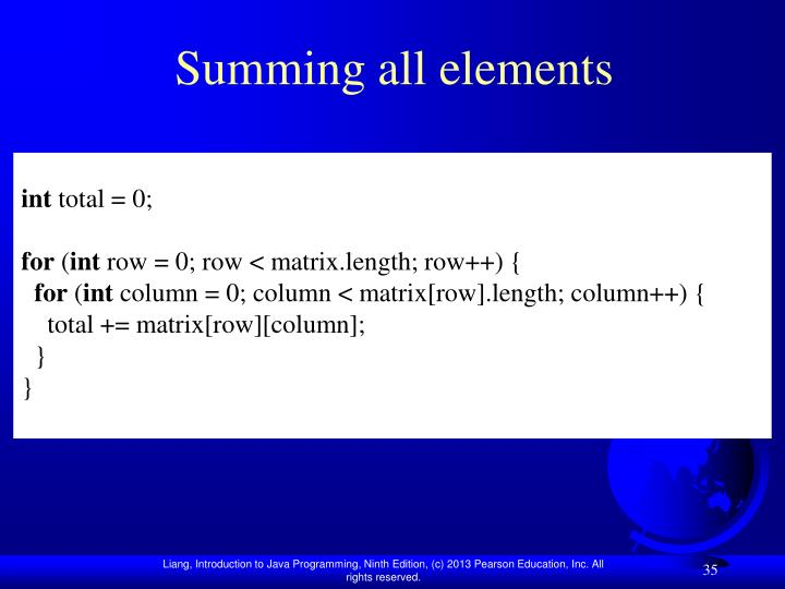 Summing all elements