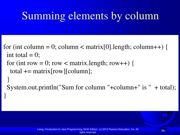 Summing elements by column