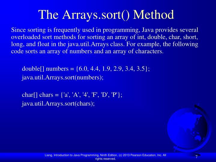 The Arrays.sort() Method