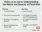 policy as an aid to understanding the nature and severity of flood risk