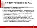 prudent valuation and ava