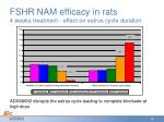 fshr nam efficacy in rats 4 weeks treatment effect on estrus cycle duration