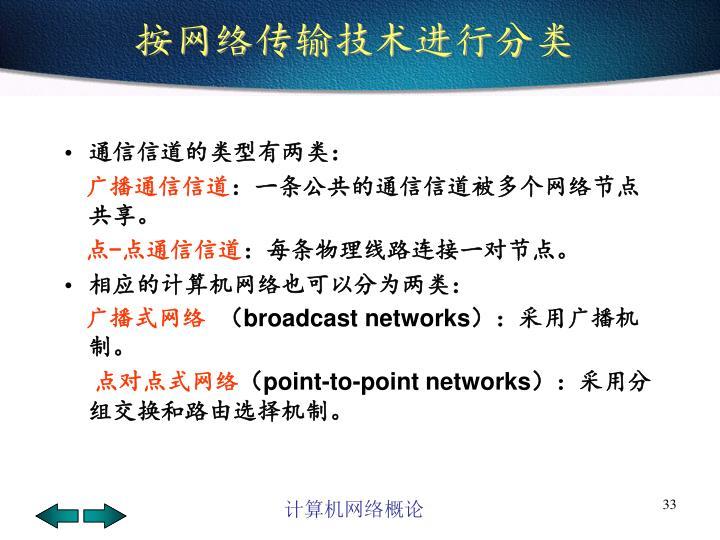 按网络传输技术进行分类