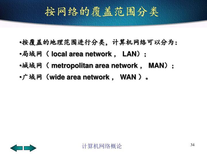 按网络的覆盖范围分类