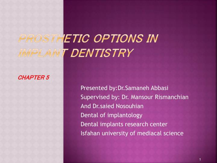 prosthetic options in implant dentistry chapter 5 n.