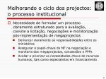 melhorando o ciclo dos projectos o processo institucional