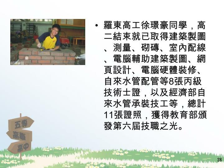 羅東高工徐璟豪同學,高二結束就已取得建築製圖、測量、砌磚、室內配線、電腦輔助建築製圖、網頁設計、電腦硬體裝修、自來水管配管等