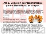 art 9 comisi n interdepartamental para el medio rural en arag n