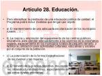 art culo 28 educaci n