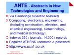 ante abstracts in new technologies and engineering