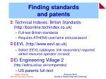 finding standards and patents