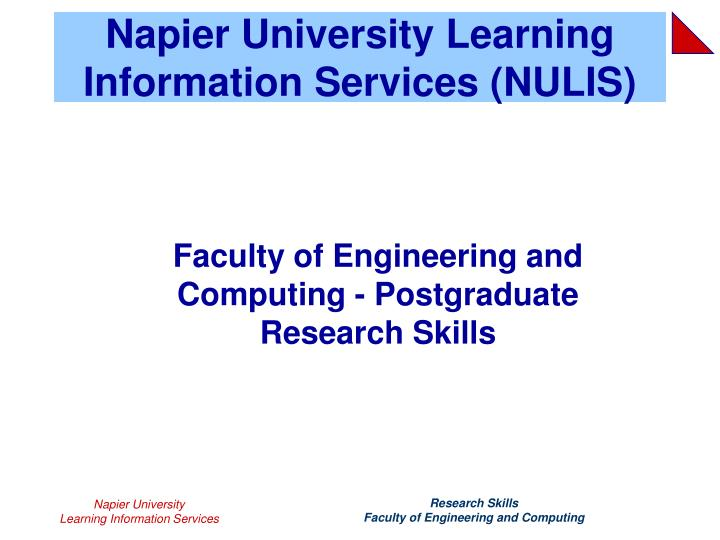 napier university learning information services nulis n.