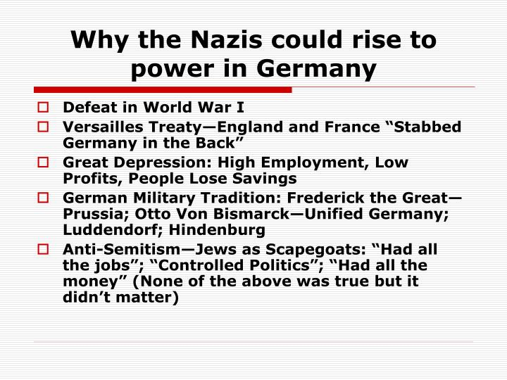 the rise of nazis power essay Adolf hitler's rise to power began in germany in september 1919 when hitler joined the political party known as the deutsche arbeiterpartei - dap (german workers' party.