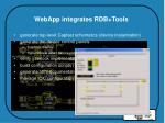 webapp integrates rdb tools