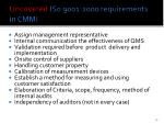 uncovered is0 9001 2000 requirements in cmmi