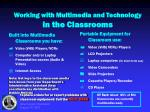 working with multimedia and technology in the classrooms