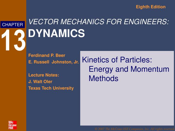 kinetics of particles energy and momentum methods n.