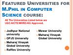 featured universities for m phil in computer science course