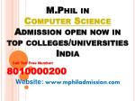 m phil in computer science admission open now in top colleges universities india