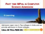 part time mphil in computer science admission